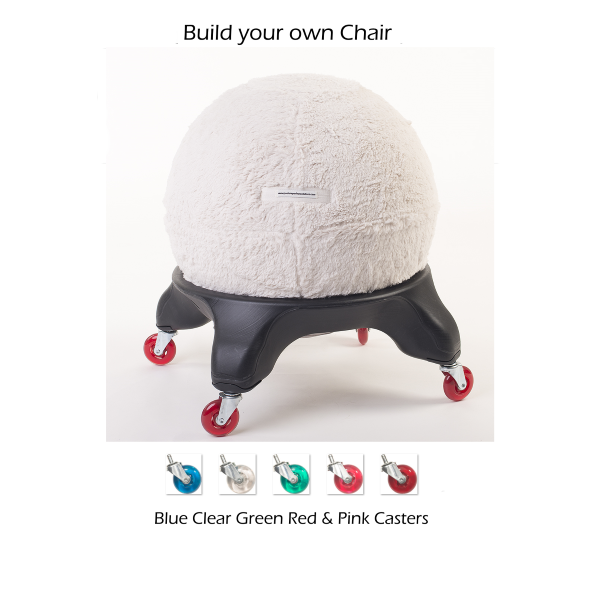 Sherpa Ball Chair Cover with color casters